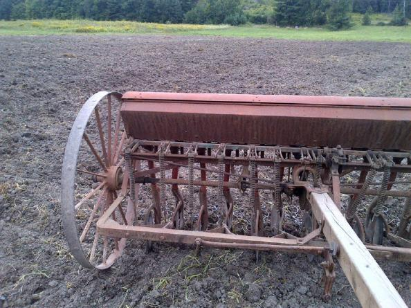 This seed drill is an antique from the horse-drawn era, but it still gets the job done!